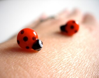 Red Ladybug Stud Earrings