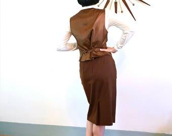 Vintage 70s Dior, Christian Dior Suit, Womens Vest & Skirt, Two Piece suit, 1970s 2 piece set, brown wool suit, ladies Dior suit, Size 10 12