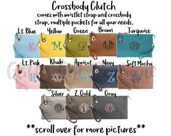 Monogram Crossbody Buckle Purse, Monogram Clutch, Monogram Purse, Bridesmaids Gift, Monogram Wristlet, Personalized Large Crossbody