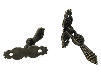 5 x Retro Furniture button knock grasped drawer handle Antique Brass 52 x 11 mm