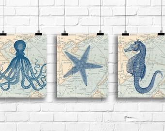 Set of vintage nautical prints, octopus art print, starfish wall art, seahorse wall decor, vintage nautical home decor, sea life decor