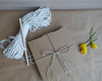 Macrame Kit, DIY macrame kit, Macrame Gift set, macrame rope, natural cotton cord, macrame cotton string, white 3mm macrame rope,