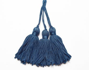 3 peacock blue yarn (100mm with bail) 55 mm tassels / quality