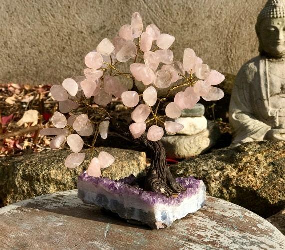 Crystal Bonsai Tree ~ Medium, Stone Tree, Crystal Tree, Crystal Tree of Life, Crystal Wishing Tree, Rose Quartz Tree, Amethyst Tree