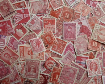 Red Stamps -  Lot of 150 Used Postage Stamps for Collecting,  Paper Crafts, Jewelry, Decoupage, Collage and More...
