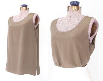 silk tank top * silk blouse * vintage flutter shirt * silk shell blouse * large