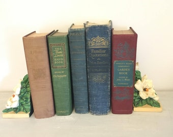 Antique Book Stack, Instant Library, Old Books, Decor, Photo Prop, Wedding, Set of 5