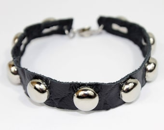 Zayas-Pizarro- Black Bracelet with Round Silver Studs