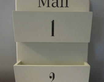 Two Slot Wall Mount Mail Organizer- Mail Holder- Mail Sorter