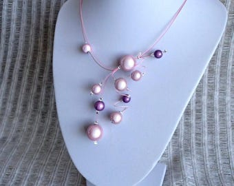 Pink Necklace, Swirls Necklace, Statement Necklace, Illusion Necklace