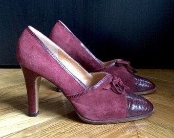 Vintage leather shoes suede and Burgundy reptile heels tops/made in Italy, 100% leather SHALAKO, size 40 UK 7 US 9/brand new, never worn