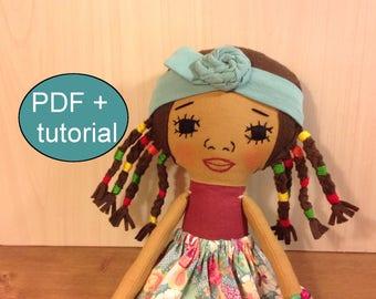 doll sewing pattern black cloth doll pattern tutorial doll making soft doll pattern African doll pattern rag doll pattern fabric doll plush