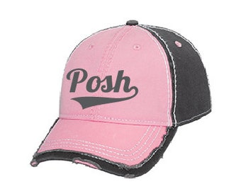 Pink Perfectly Posh hat, embroidered Posh hat