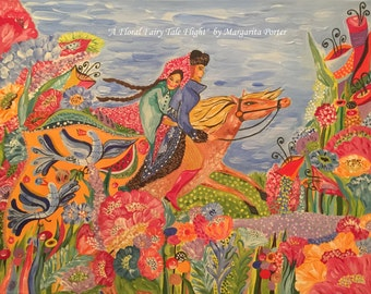 "A Floral Fairy Tale Flight  Slavic Naive Art Gouache Painting 20""x16"" Margarita"