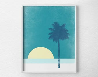 Beach Decor, Beach Print, Beach Poster, Sunset Art, Beach Art, Modern Beach Art, Sunset Print, Tropical Beach Art, Retro Beach Art