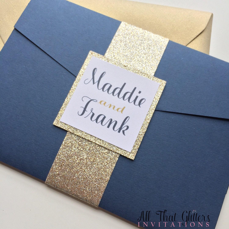 Champagne and navy wedding invitation Glitter pocketfold