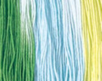 Daruma Yokota Sashiko Thread #52 GREENS - Variegated Light Sport Solid Color- 100% cotton 100 meter skein - Japanese Hand Quilting Stitching