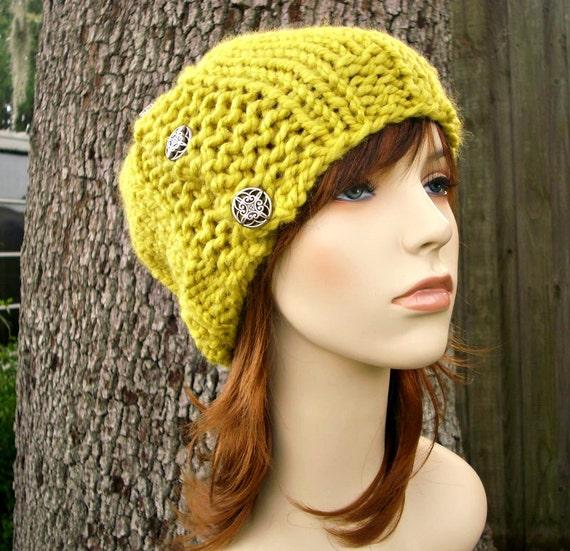 Knit Hat Womens Hat - Cardigan Beanie Hat in Citron Yellow Knit Hat Yellow Hat Yellow Beanie Womens Accessories