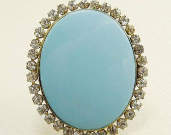 Antique Paste Rhinestone Brooch Turquoise Blue Glass