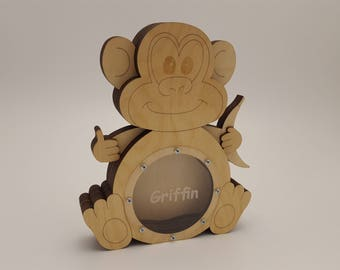 Wooden money bank Monkey Money box Birthday Gift for baby Engraved Gift for kids Kids money bank Animal lover gift Zoo animal Jungle animals