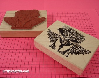 Angel Catrina Stamp / Invoke Arts Collage Rubber Stamps