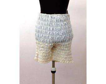 Ruffled lace bloomers pettipants square dance pants white  high waist lace panties Size M Medium