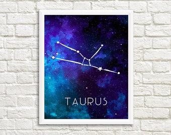 Taurus Constellation, Art Print, Watercolor, Blue, Aqua, Aquamarine, Night Sky, Space, Stars, Horoscope, Digital File, Instant Download