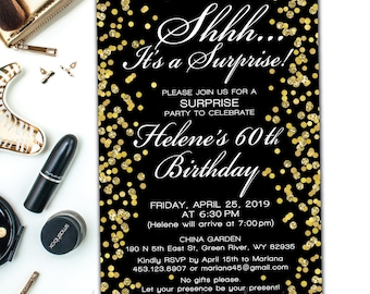 Surprise party invitation adult surprise birthday invites surprise 60th birthday invites adult surprise birthday invites black gold glitter birthdays filmwisefo