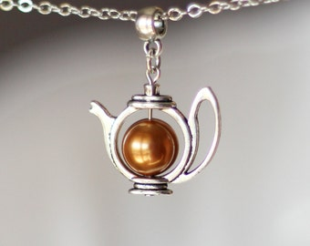 Teapot Necklace, Tea Necklace, Teapot Pendant, Pearl Teapot Necklace, Pearl Teapot, Teapot Jewelry,Gift for Tea Lovers,Silver Teapot Jewelry