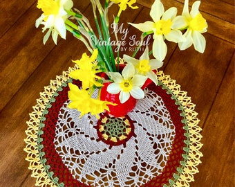 Round Lace Doily - Spring Decor - Pineapple Doily - Crochet Flower Doily - Coffee Table Doily - Rustic Home Decor - Housewarming Gift