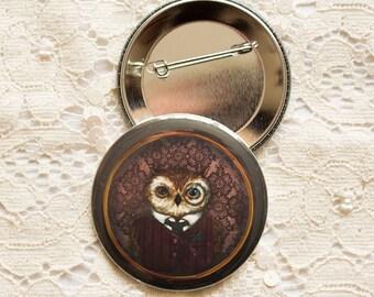 Badges Set - Button - Brooch - animals - anthropomorphic - Owl - Peter Bird