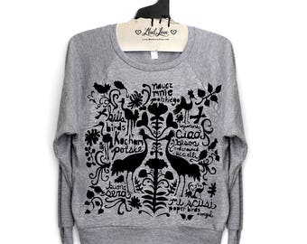 M- Heather Gray Tri-Blend Sweatshirt Folk Art Print