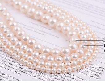 Natural White Freshwater Pearl Beads for DIY Necklace Bracelet Jewelry Making - DY001219