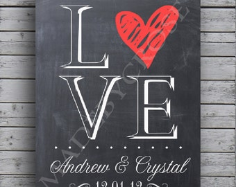 Chalkboard Love Sign with Couples Names and Date- Print
