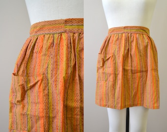 1960s Orange Striped Cotton Half Apron