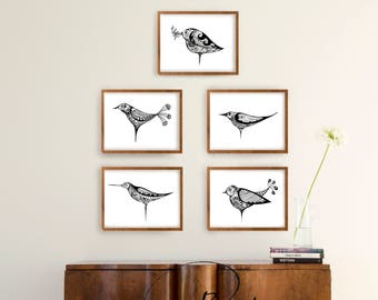 Minimal floral birds black and white print, modern bird print ooak, Set print wall art, Set option amount, Choose one two three four or five