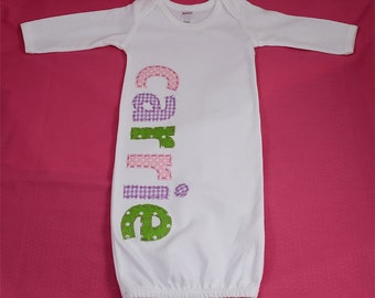 Hand Appliqued Personalized Infant Baby Girl Gown Pink Green Lavender