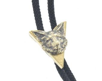 Western Bolo Tie, Fox charm , antique brass  bolo charm made in USA