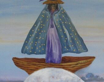 "Original art - Goddess Painting - Moon Art -  20 x 20 inches - ""Riding the Moon"" - Kate Ladd"