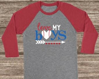 Love my Boys Baseball Mom Tee - Baseball T-shirt - Baseball Mom Shirt - Love My Boys Shirt - Baseball Mom Raglans