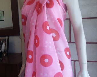 Pink  sarong, beach cover up, pink sarong, beach sarong, sarong cover up, -chiffon bathing suits, sarong cover up , swimmer cover up