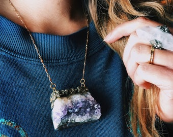 """Raw Amethyst Necklace with Crushed Pyrite & Gold Foil Suspended From 16"""" Gold-Filled Chain \\ a.k.a. - The Eridu Talisman"""