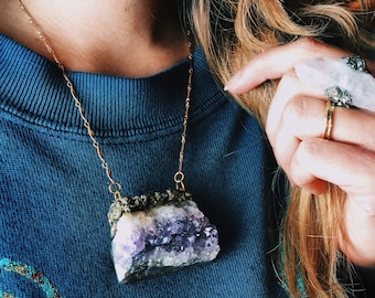 "Raw Amethyst Necklace with Crushed Pyrite & Gold Foil Suspended From 16"" Gold-Filled Chain \\ a.k.a. - The Eridu Talisman"