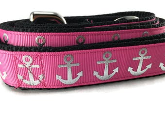 Dog Leash, Foil Anchor Pink, 1 inch wide, 1 foot, 4 foot, or 6 foot