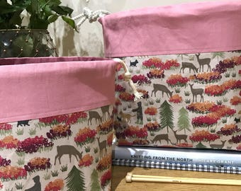 A 'walk through the woods' deer and dog walkers knitting project bag, gift for knitters, yarn project bag,
