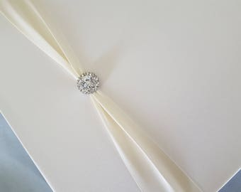 Wedding Guest Book 9 1/2 x 9 1/2 Ivory Bridal Rhinestone Accent Guestbook
