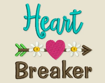 Coupon Codes!  Heart Breaker Embroidery Digital Design for Girls Valentine's Day Decor VA036