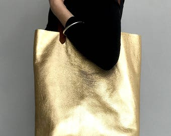 Gold leather bag, gold leather tote bag, gold beach bag, metallic leather shoulder bag, leather shopper, gold shoulder, metallic tote, gold