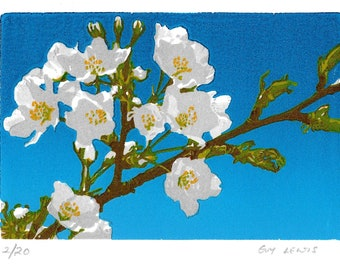 Lino print - Apple Blossom - Wood cut print