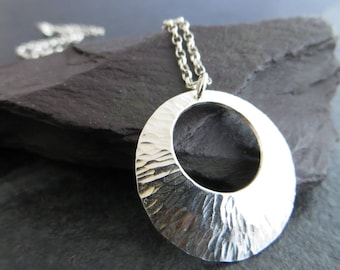 Sterling Silver Pendant, Silver Circle Necklace, Textured Silver Pendant, Silver Disc Necklace, Silver Jewellery UK, Simple Pendant Necklace